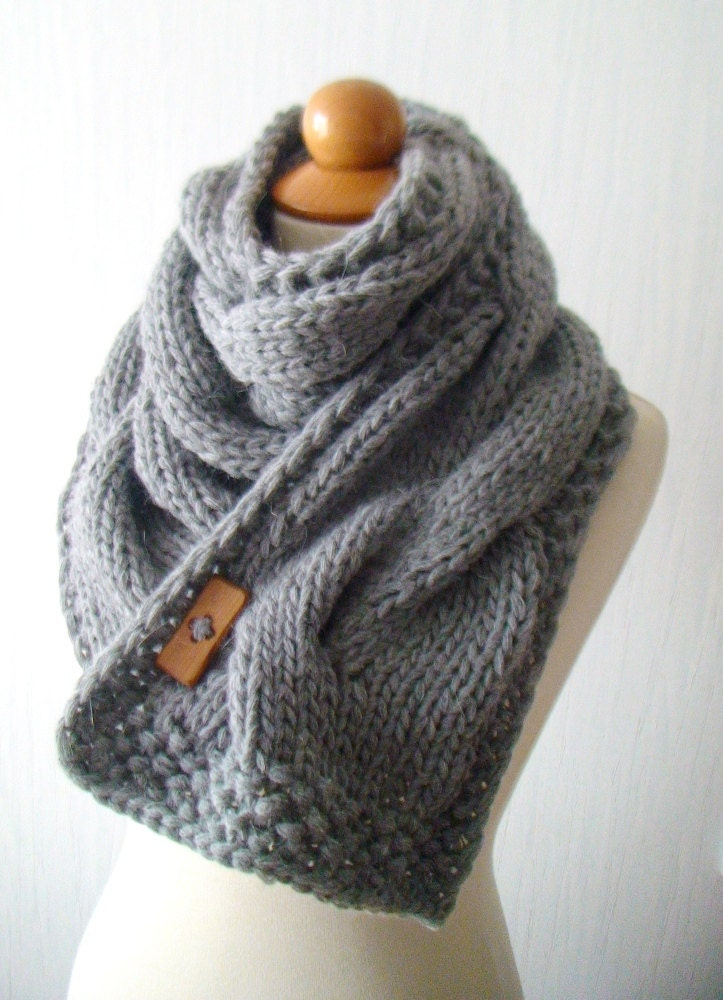 Knitting Pattern For Thick Scarf : Scarf Chunky Cowl Grey Thick Cabled Hand Knit
