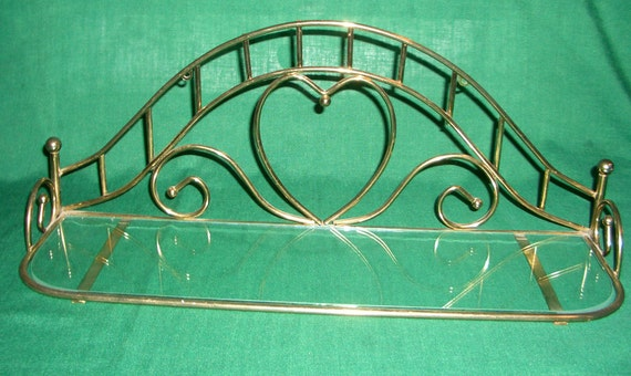 Vintage Wall Shelf Brass and Glass Heart Motif Display Shelf Perfect for Perfume Bottles Picture Frames