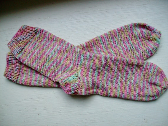 Hand Knit Soft And Warm  Women's Cotton - Merino Wool  Socks, Size 7 - 8  (9.5 inches length)