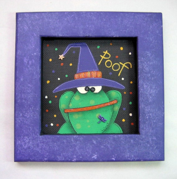 Halloween, Green Toad with Purple Witch's Hat, Tole Painted Sign, Framed in Purple, Halloween Hanging Decoration,Green Toad or Frog