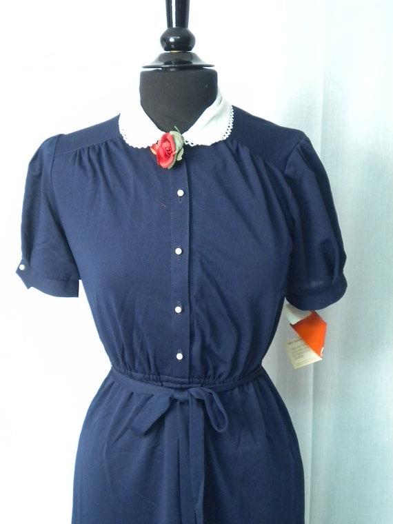 Vintage 70s Dress, Navy NOS Deadstock