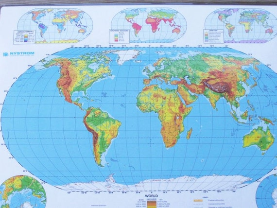 World Map Poster Physical World Map Double Sided Laminated Nystrom School Map Wall Map