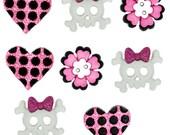 Jesse James Buttons Dress It Up Girl Punk Skull Heart Pink Glitter Novelty Button Set