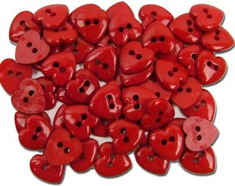 Jesse James Button Valentine's Collection Red Hot Hearts Tiny Doll Buttons