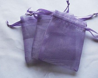 Lavender Organza Bags / favor bags set of 100 bags 3 x 4inch Great for handmade soaps, herbs, tea, jewelry etc.