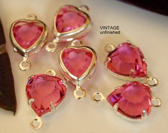 Vintage Swarovski 10mm Rose Pink Heart Shaped Channels (4)