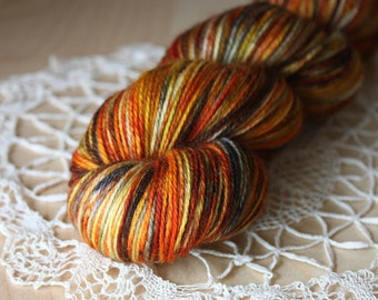 Hand Dyed Yarn / Fingering Weight / Pumpkin Burnt Orange Russet Charcoal Superwash Merino Wool / Gifts for Knitters Crocheters