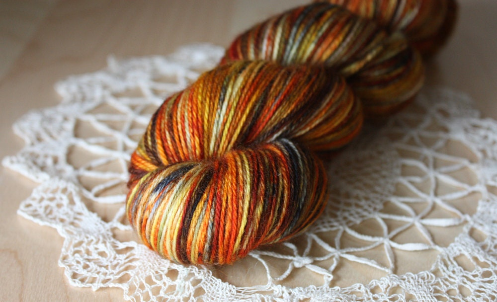 Hand Dyed Yarn / Fingering Weight / Pumpkin by phydeauxdesigns