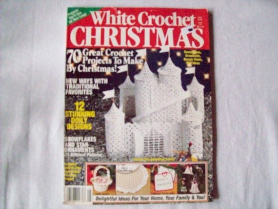 Crochet Gifts Magazine : White Crochet Christmas Magazine 1994, Crochet Pattern Book, Thread ...