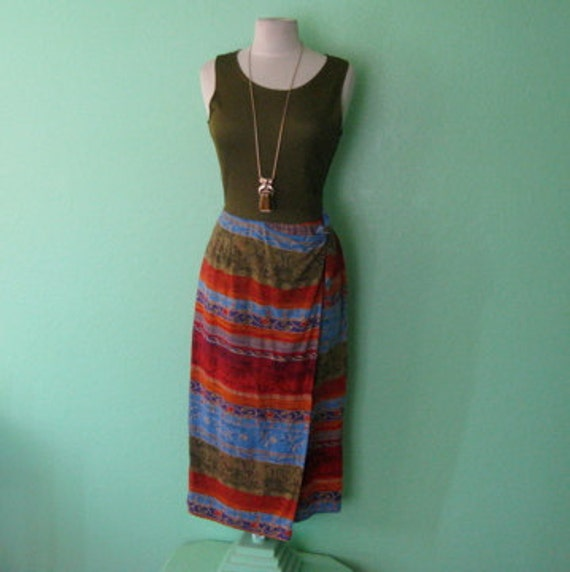 80s dress - colorful african inspired tie skirt dress - size medium