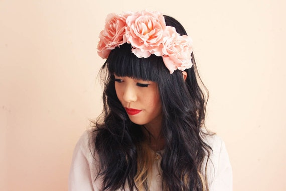 pale pink large oversize rose headband - romantic wedding headpiece, spring racing carnival, summer festival, woodland.