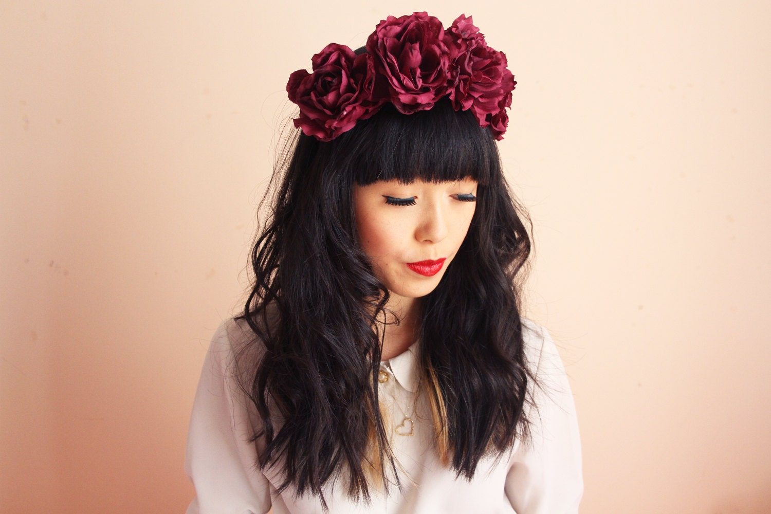 burgundy wine flower crown large oversize rose headband