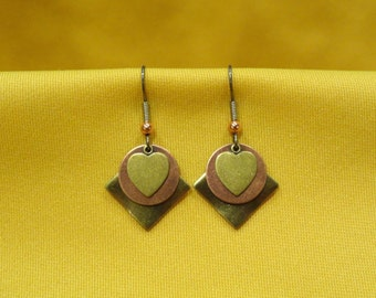 Sweet Heart gold and copper earrings (Style #357C)