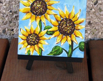Sunflower mini painting with easel