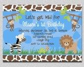 Jungle Animals Birthday Invitation Safari Animals Birthday Party Invitation Printable