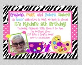 Zebra Hot Pink Art Party Invitation