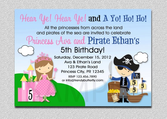 Princess Pirate Birthday Invitation Princess and Pirate Party – Princess and Pirates Party Invitations
