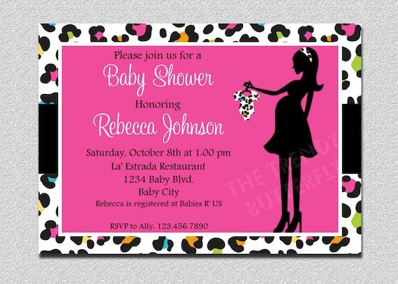 Hot Pink Cheetah Baby Shower Invitation Cheetah Print Baby Shower Invitation