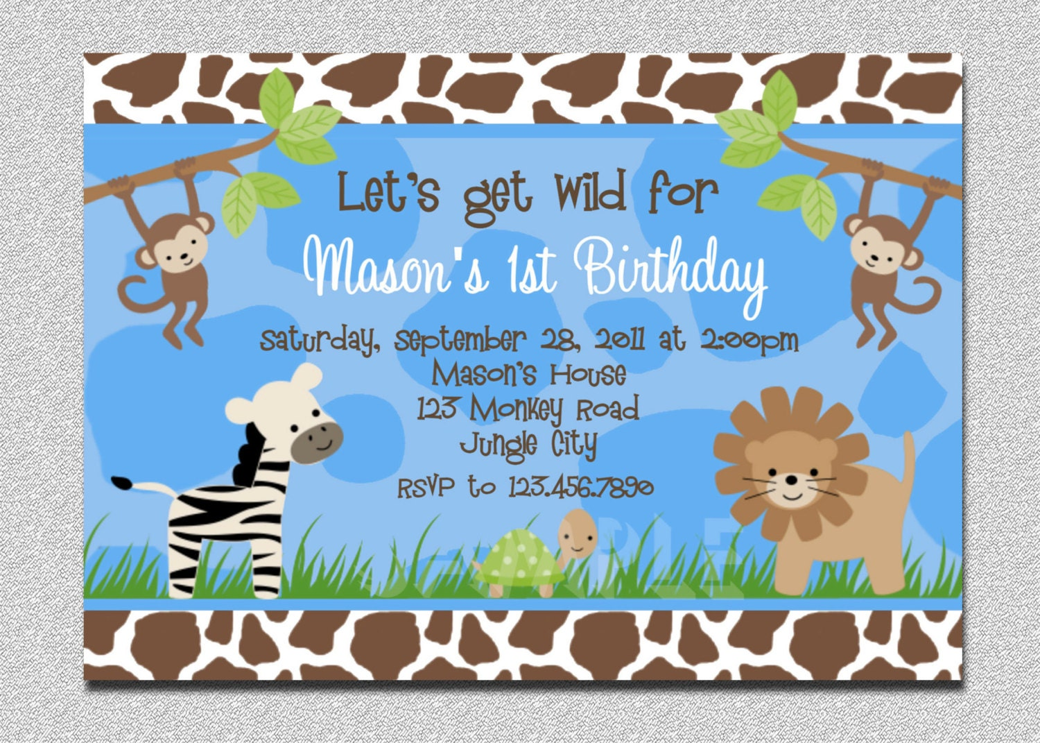 Jungle Themed Birthday Party Invitations as perfect invitation layout