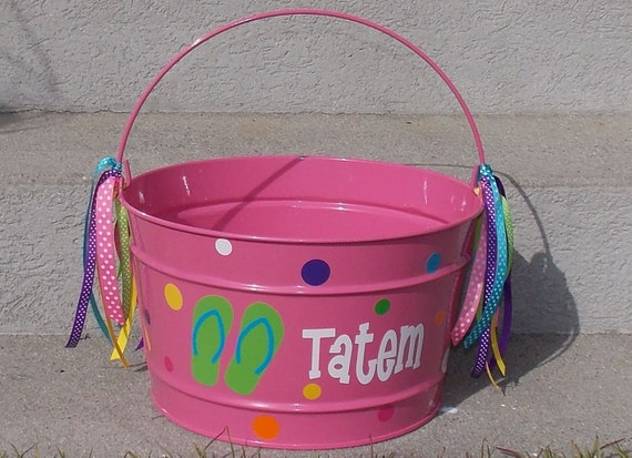 personalized Easter metal PAIL bucket monogram Initial galvanized tin 16 qt.