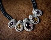 Natural Ametrine, Citrine & Amethyst Gemstones in Sterling Silver with Swarovski Charcoal Pearls