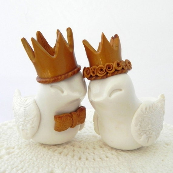 Reserved for Emily - Wedding Cake Topper, White Love Birds with Gold Crowns, Bride and Groom Keepsake