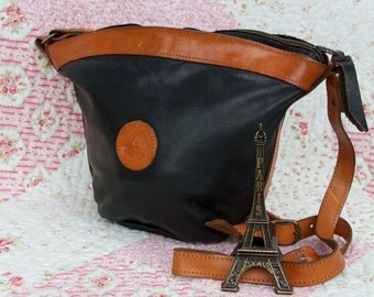 Mirabella, French Vintage, 1970s Black and Tan Leather Satchel, Messenger, Crossbody Handbag from Paris