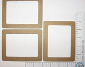 Rectangle  Frames  Medium Weight Natural Chipboard Three Cut Outs