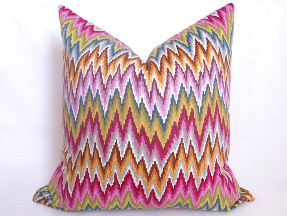 Flamestitch Chevron Pillow - Blue - Pink - Green - Purple - Gold - Flamestitch Pillow - Throw Pillow - Decorative Pillow - Designer Pillow