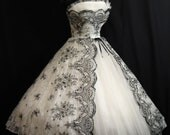 Reserved Vintage 1950's 50s Bombshell STRAPLESS Black White Metallic Floral Flocked Tulle Party Prom Wedding DRESS