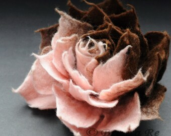 Felt Flower Brooch Ombre Baby Pink and Chocolate / Felted Flower Pin Brooch  / 4 inch