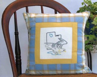 Utah bird pillow, cabin, cottage, farmhouse decor with vintage hand-embroidered quilt block -- a keepsake gift. Includes pillow form.