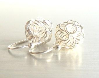 Tangled knot earrings - 925 sterling silver wire fun little scribble balls on simple hook ear wires - ZEE Squiggles minimalist everyday wear