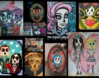 Custom Orders Currently Open- Limited Number Of Spots-Original Day of The Dead Paintings
