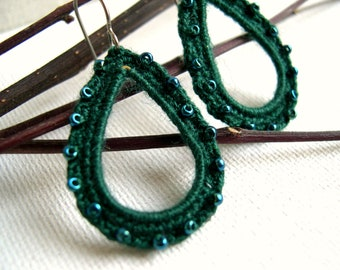 Crochet Dangle Earrings - Lace earrings - Bridesmaid Earrings - Crochet Jewelry - Emerald green earrings - Made in America - Girlfriend gift