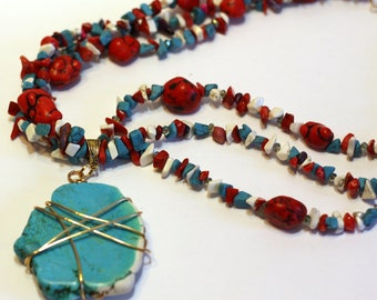 Red, White, and Turquoise gemstone necklace chip bead with Large Turquoise Chunk Pendant Handmade Chunky Necklace with wire wrapped pendant