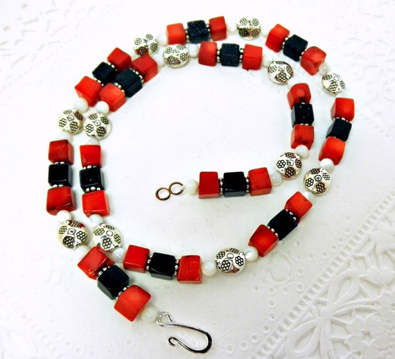 Blue Goldstone, Red Coral, and White Mother of Pearl Necklace