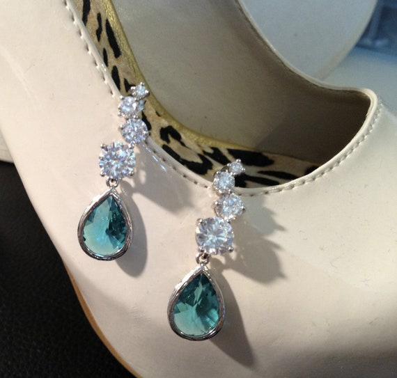 The Night Out Too- Gorgeous Silver Clear and Teal Dangle Earrings