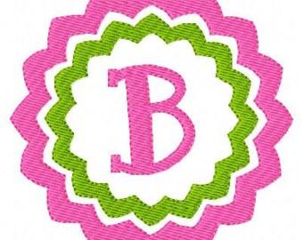 Circle Chevron Machine Embroidery Monogram Font Design Set, Machine Embroidery Designs, Embroidery Font // Joyful Stitches