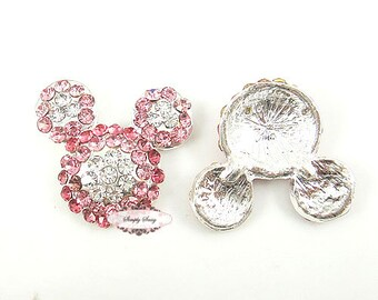 3pcs PINK Rhinestone Crystal Bling Mouse Flatback Metal Embellishment RD256 Hair Bows Minnie Clips Accessories Invitations Frames