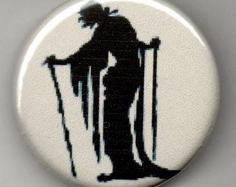 "Old Hag in Sillhouette  1.25"" PinBack Button"