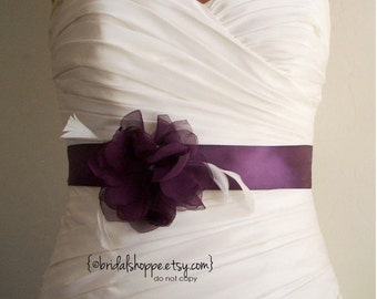 Aubergine Bridal Sash, Eggplant Bridal Sash, Purple Bridal Sash, Bridal Belt Bridal Accessories, Handmade Fabric Flower Sash Belt au- Ashley
