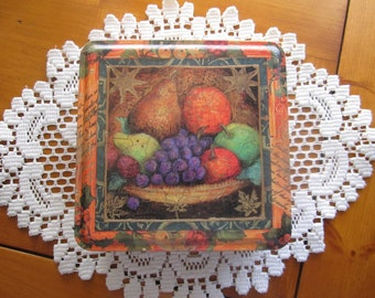 Tuscany Style Vintage Tin Container - Fruit Design