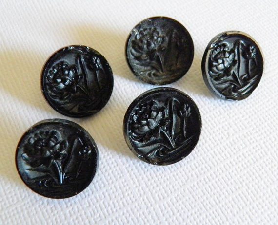 Antique Victorian Water Lily Buttons Black Glass