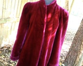 vintage fur coat - 1970s burgundy/oxblood faux fur coat