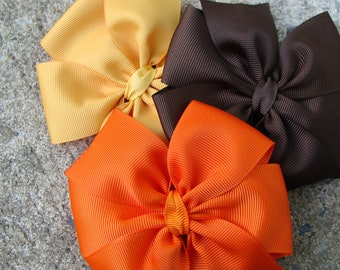 3 Hair Bows Fall Hair Bows Thanksgiving Hair Bows Pumpkin Hair Bows Hair Clip
