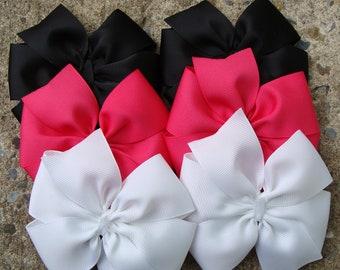 SALE Shocking Pink White and Black Large Pinwheel Hair BowS Set