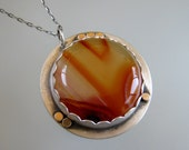 Swirly Red Round Agate Necklace Pendant set in Sterling Silver and Gold