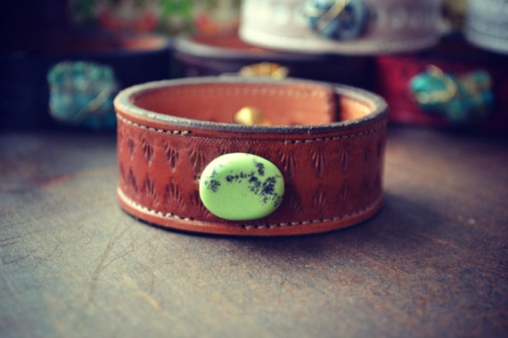 LUX Bohemian Brown Recycled Stamped Earthy Leather Green Polished Turquoise Gemstone Cuff