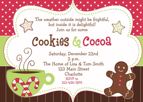 cookies and cocoa winter party invitation winter birthday, Party invitations